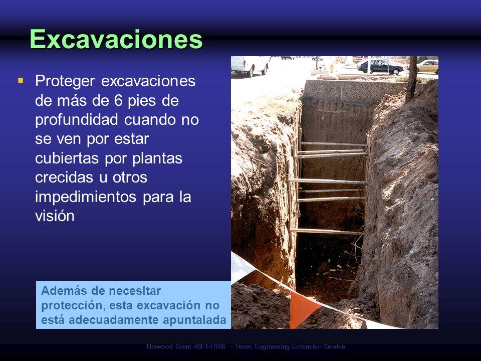 Harwood Grant 46F1-HT06 - Texas Engineering Extension Service Proteger excavaciones de más de 6 pies de profundidad cuando no se ven por estar cubiert