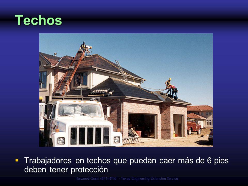 Harwood Grant 46F1-HT06 - Texas Engineering Extension Service Techos Trabajadores en techos que puedan caer más de 6 pies deben tener protección