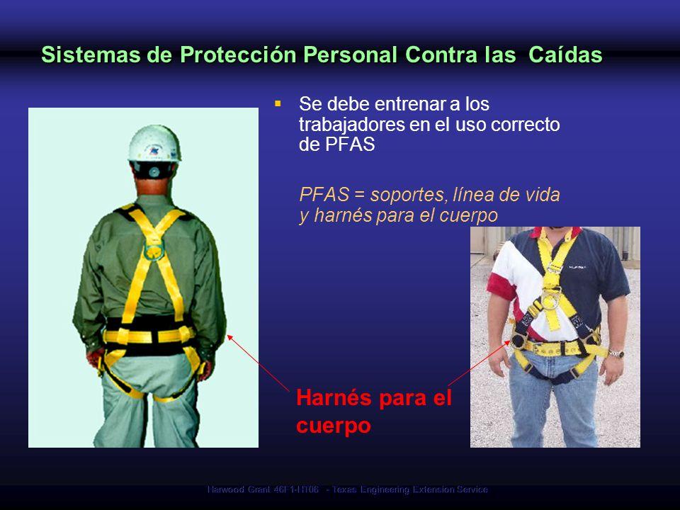Harwood Grant 46F1-HT06 - Texas Engineering Extension Service Sistemas de Protección Personal Contra las Caídas Se debe entrenar a los trabajadores en