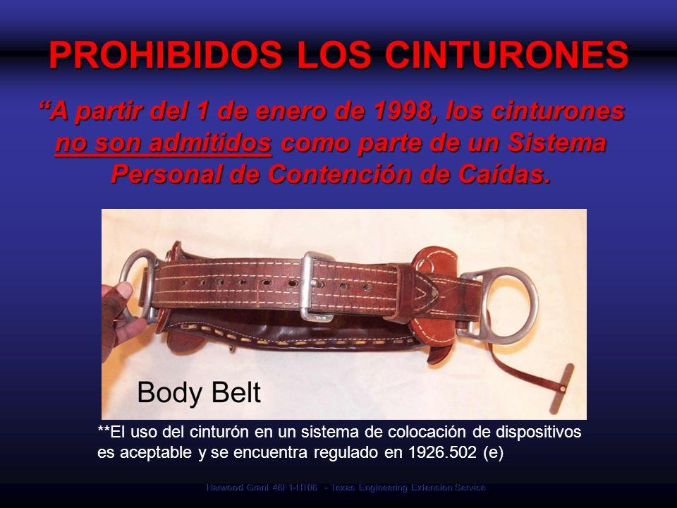 Harwood Grant 46F1-HT06 - Texas Engineering Extension Service PROHIBIDOS LOS CINTURONES A partir del 1 de enero de 1998, los cinturones no son admitid