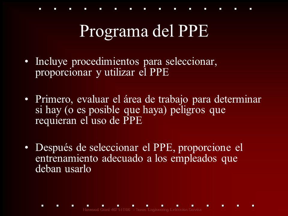 Programa del PPE Incluye procedimientos para seleccionar, proporcionar y utilizar el PPE Primero, evaluar el área de trabajo para determinar si hay (o