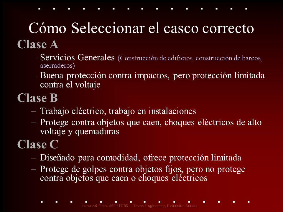 Cómo Seleccionar el casco correcto Clase A –Servicios Generales (Construcción de edificios, construcción de barcos, aserraderos) –Buena protección con