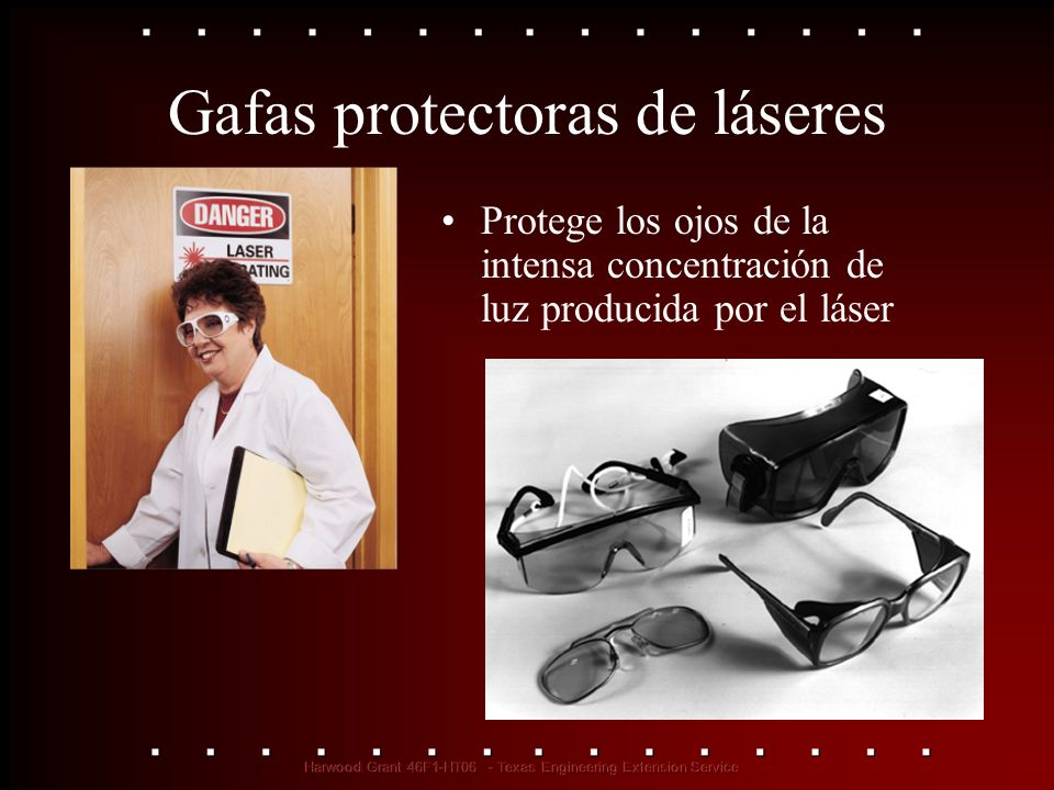 Gafas protectoras de láseres Protege los ojos de la intensa concentración de luz producida por el láser