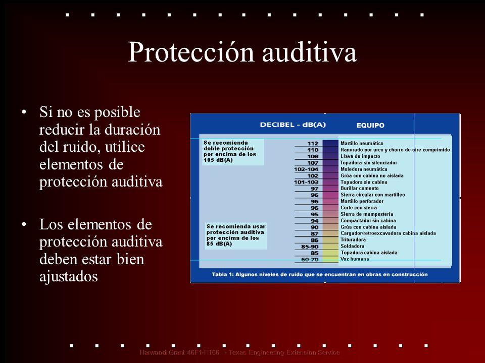 Protección auditiva Si no es posible reducir la duración del ruido, utilice elementos de protección auditiva Los elementos de protección auditiva debe