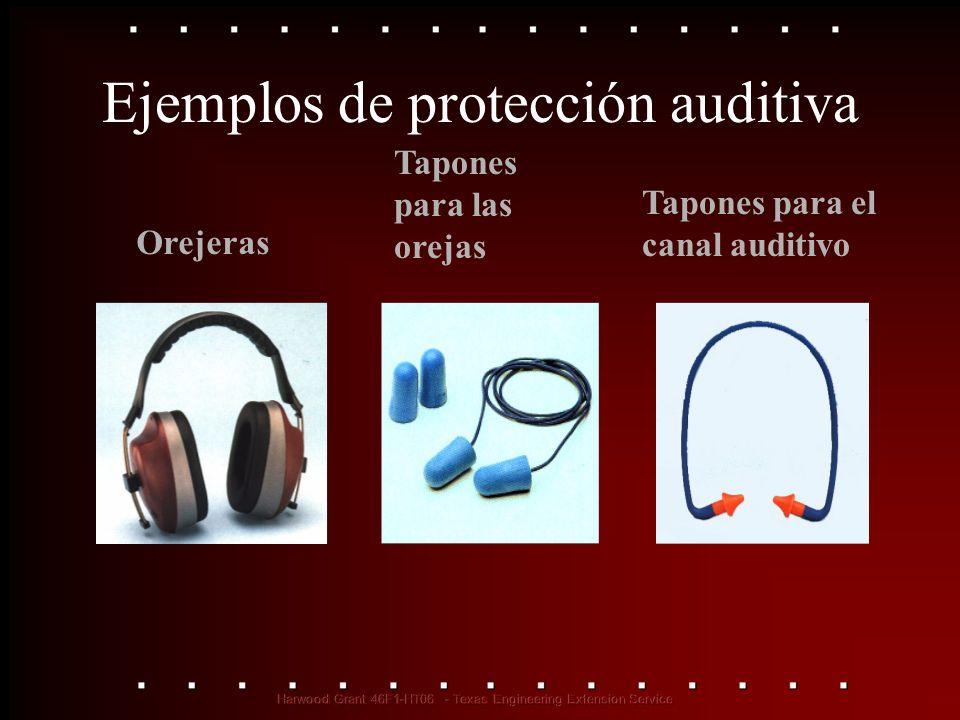 Orejeras Tapones para las orejas Tapones para el canal auditivo Ejemplos de protección auditiva