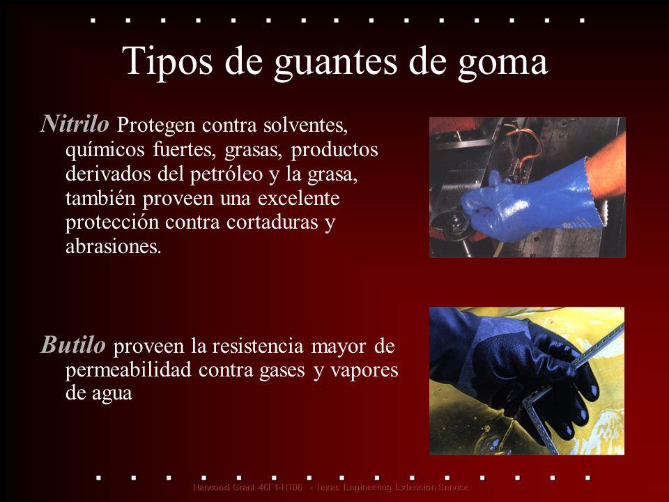 Tipos de guantes de goma Nitrilo Protegen contra solventes, químicos fuertes, grasas, productos derivados del petróleo y la grasa, también proveen una