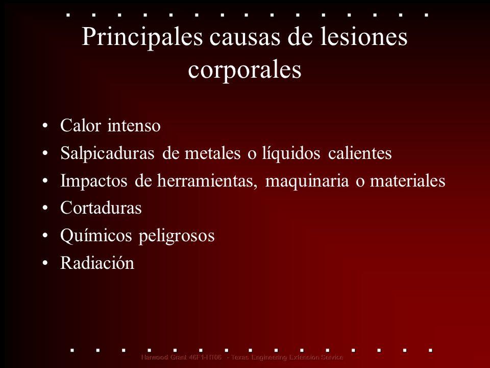 Principales causas de lesiones corporales Calor intenso Salpicaduras de metales o líquidos calientes Impactos de herramientas, maquinaria o materiales