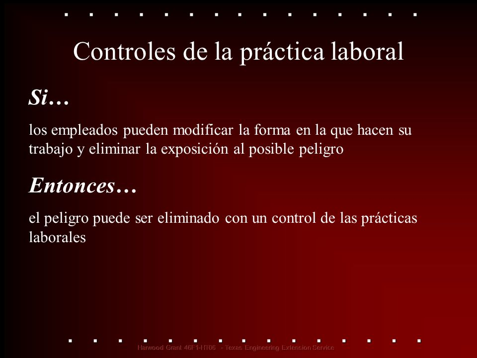 Controles de las prácticas laborales Ejemplos… Rotación de trabajos Método húmedo (supresión del polvo) Higiene personal Limpieza y mantenimiento