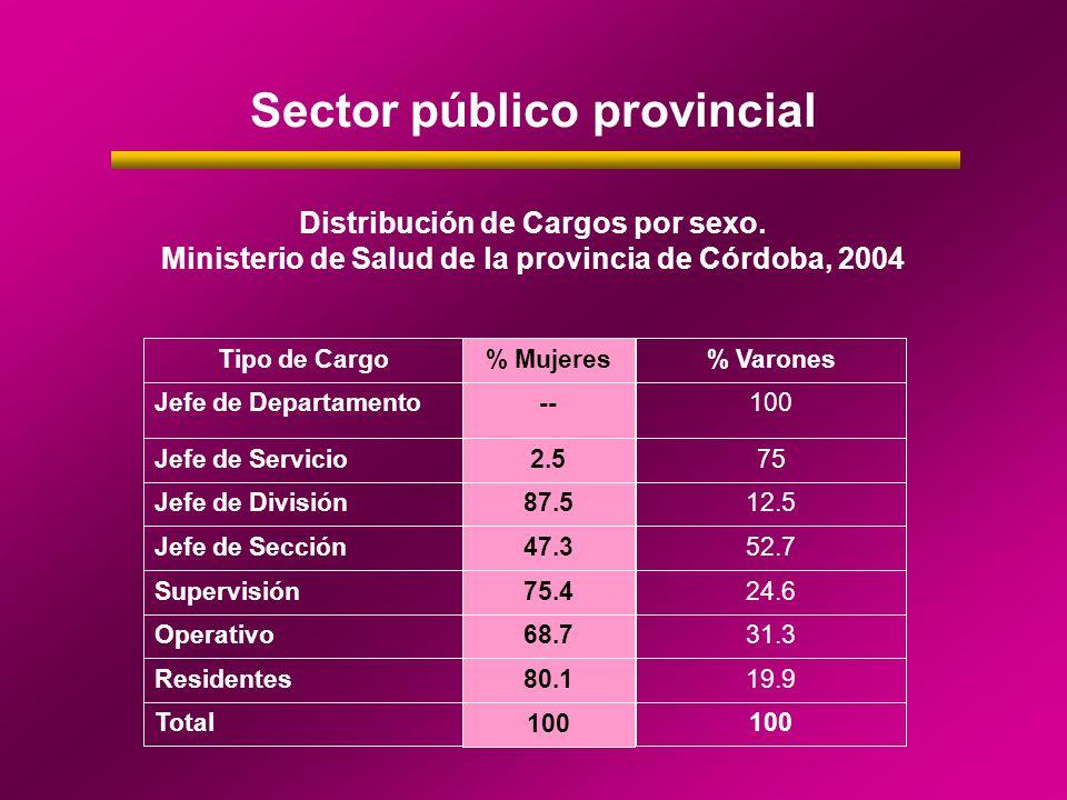 Sector público provincial Distribución de Cargos por sexo. Ministerio de Salud de la provincia de Córdoba, 2004 Tipo de Cargo% Mujeres % Varones Jefe