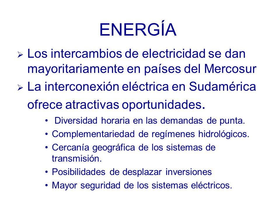 ENERGÍA Los intercambios de electricidad se dan mayoritariamente en países del Mercosur La interconexión eléctrica en Sudamérica ofrece atractivas oportunidades.