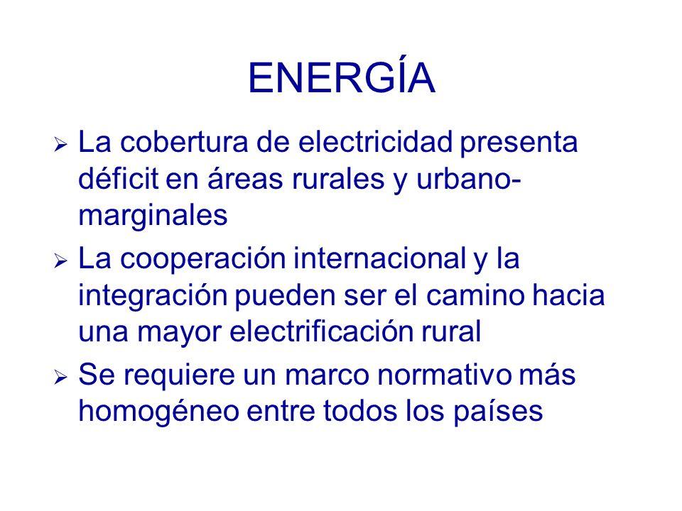 ENERGÍA La cobertura de electricidad presenta déficit en áreas rurales y urbano- marginales La cooperación internacional y la integración pueden ser el camino hacia una mayor electrificación rural Se requiere un marco normativo más homogéneo entre todos los países