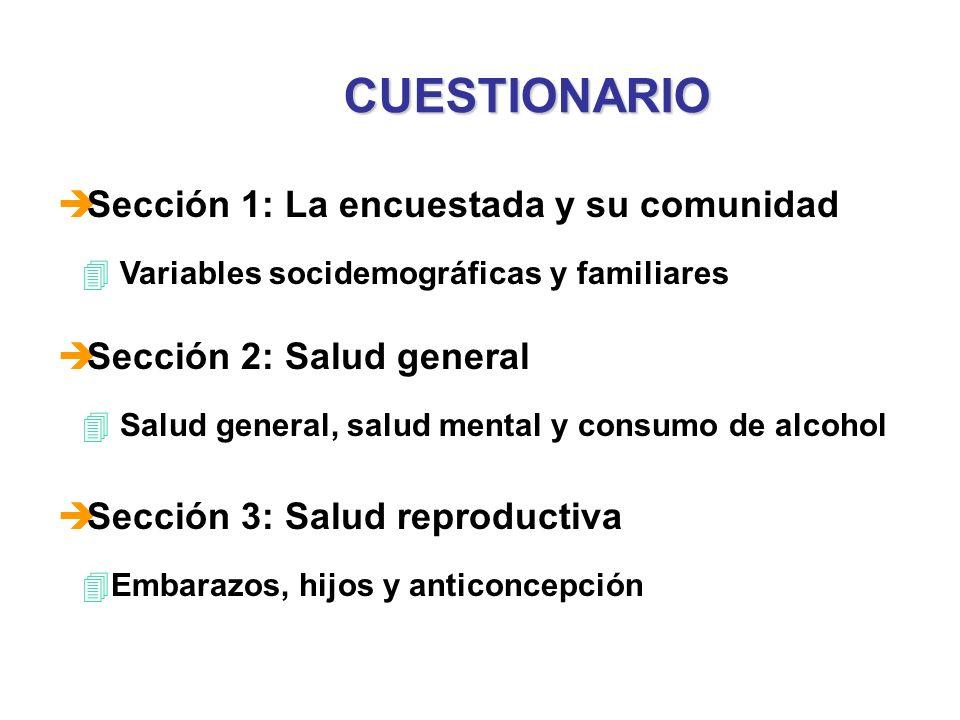 CUESTIONARIO è Sección 1: La encuestada y su comunidad 4 Variables socidemográficas y familiares è Sección 2: Salud general 4 Salud general, salud men