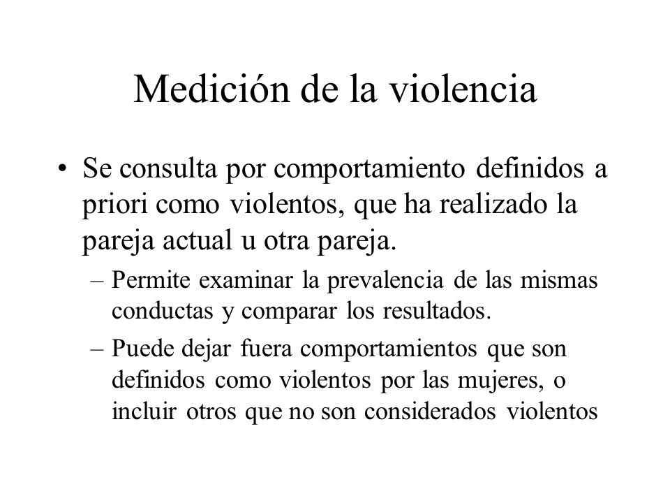 Medición de la violencia Se consulta por comportamiento definidos a priori como violentos, que ha realizado la pareja actual u otra pareja. –Permite e