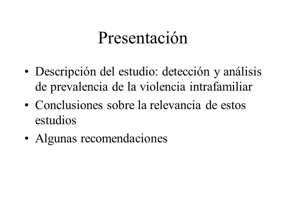 Presentación Descripción del estudio: detección y análisis de prevalencia de la violencia intrafamiliar Conclusiones sobre la relevancia de estos estu