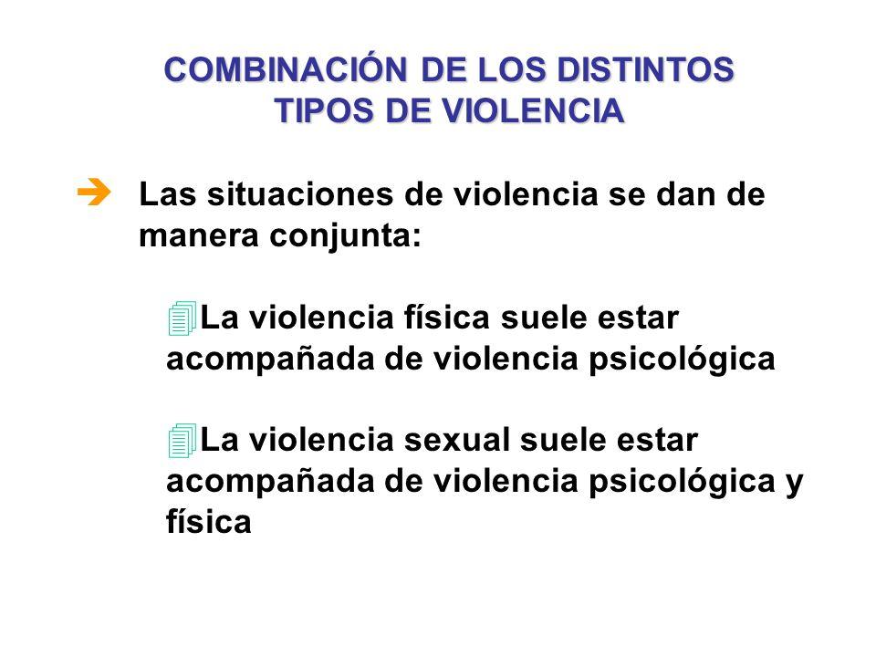COMBINACIÓN DE LOS DISTINTOS TIPOS DE VIOLENCIA è Las situaciones de violencia se dan de manera conjunta: 4 La violencia física suele estar acompañada