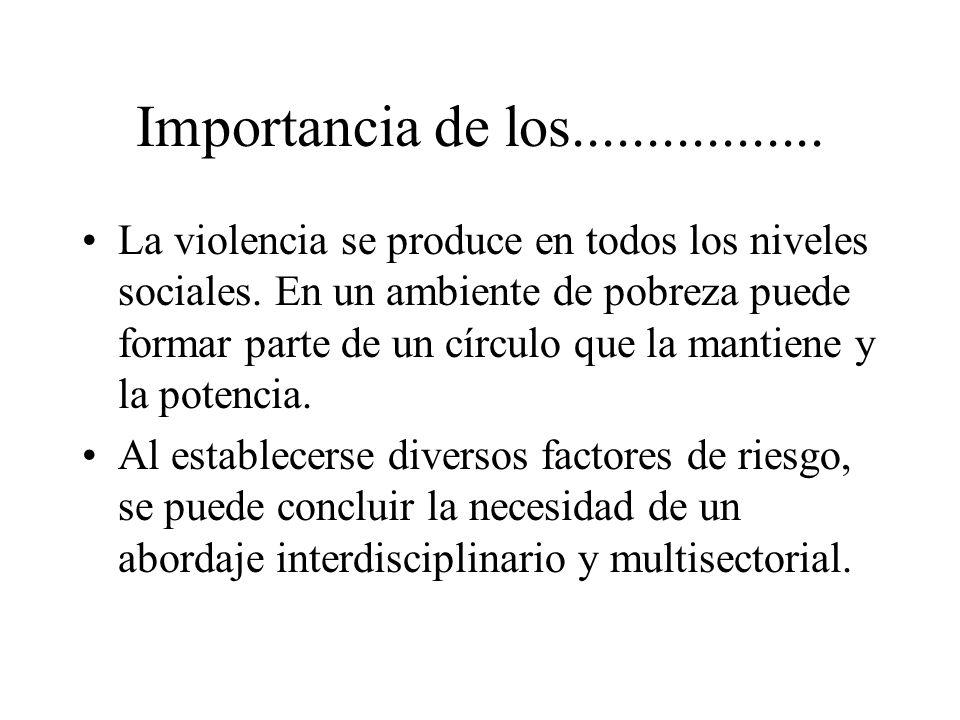 Importancia de los................. La violencia se produce en todos los niveles sociales. En un ambiente de pobreza puede formar parte de un círculo