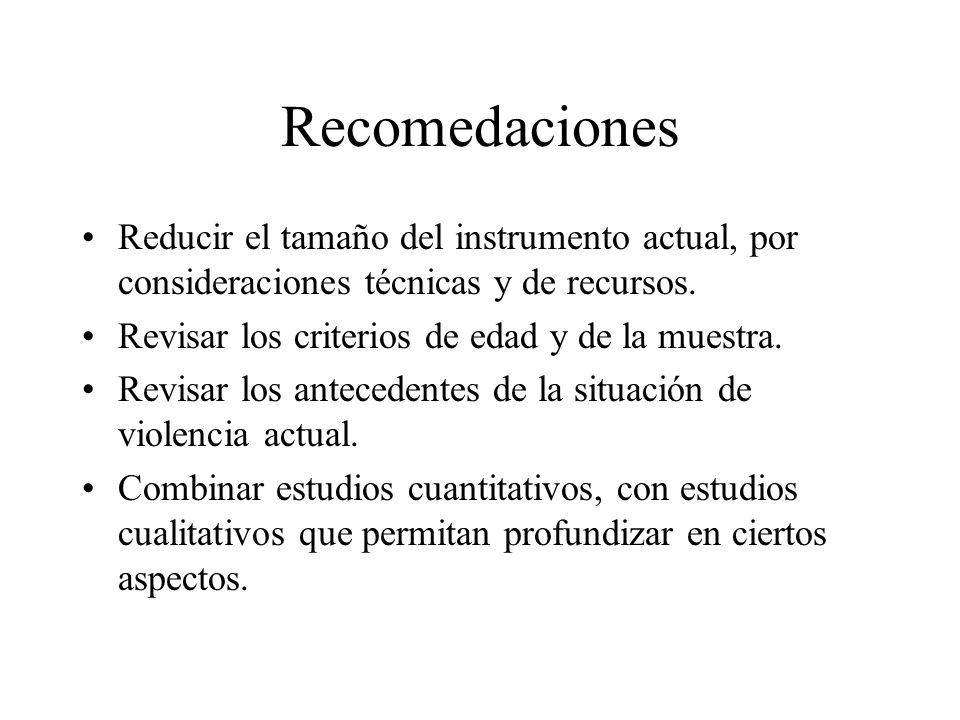 Recomedaciones Reducir el tamaño del instrumento actual, por consideraciones técnicas y de recursos. Revisar los criterios de edad y de la muestra. Re