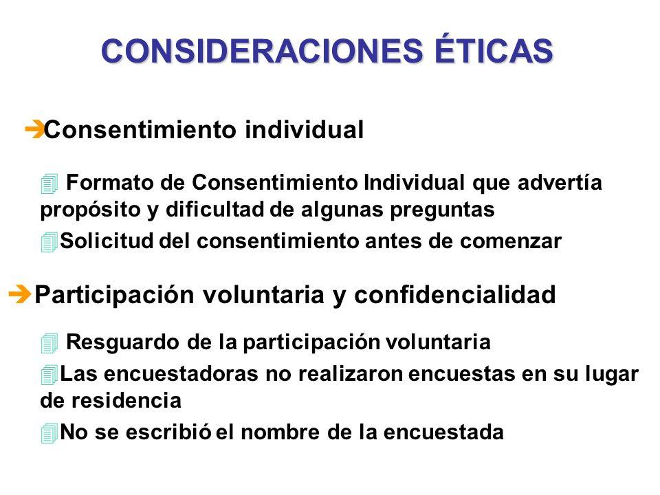 CONSIDERACIONES ÉTICAS 4 Resguardo de la participación voluntaria 4Las encuestadoras no realizaron encuestas en su lugar de residencia 4No se escribió