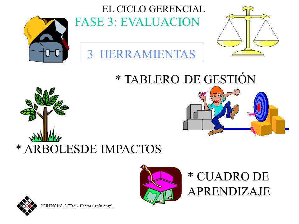 EL CICLO GERENCIAL FASE 3: EVALUACION 3 HERRAMIENTAS * ARBOLESDE IMPACTOS * TABLERO DE GESTIÓN * CUADRO DE APRENDIZAJE GERENCIAL LTDA - Héctor Sanín Angel
