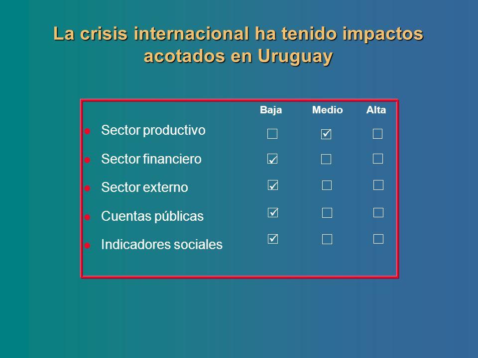 Sector productivo Sector financiero Sector externo Cuentas públicas Indicadores sociales Baja Medio Alta La crisis internacional ha tenido impactos ac