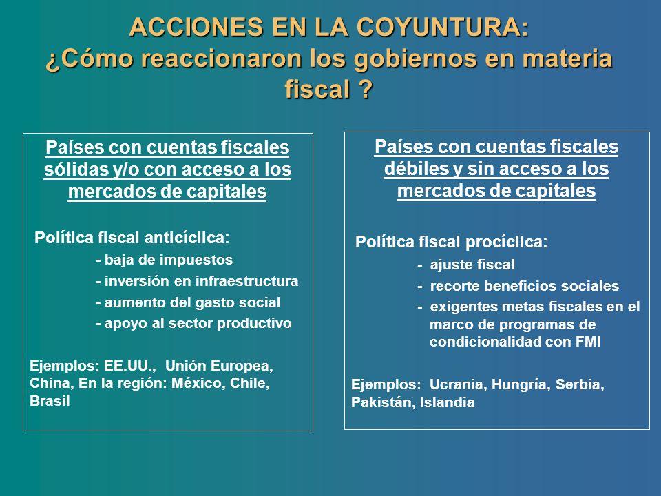 ACCIONES EN LA COYUNTURA: ¿Cómo reaccionaron los gobiernos en materia fiscal ? Países con cuentas fiscales sólidas y/o con acceso a los mercados de ca