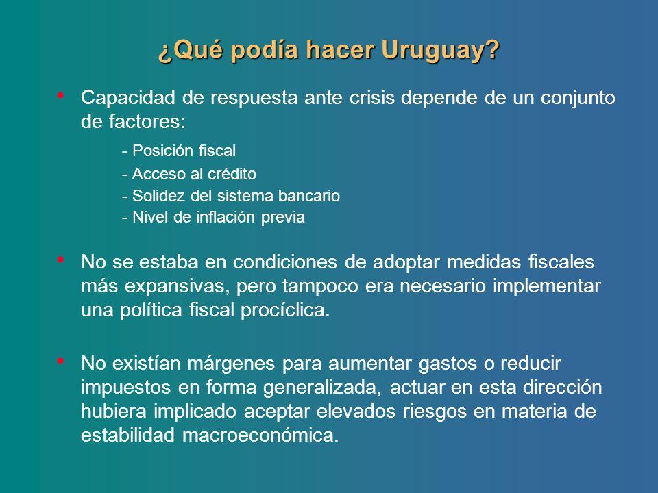 ¿Qué podía hacer Uruguay? Capacidad de respuesta ante crisis depende de un conjunto de factores: - Posición fiscal - Acceso al crédito - Solidez del s