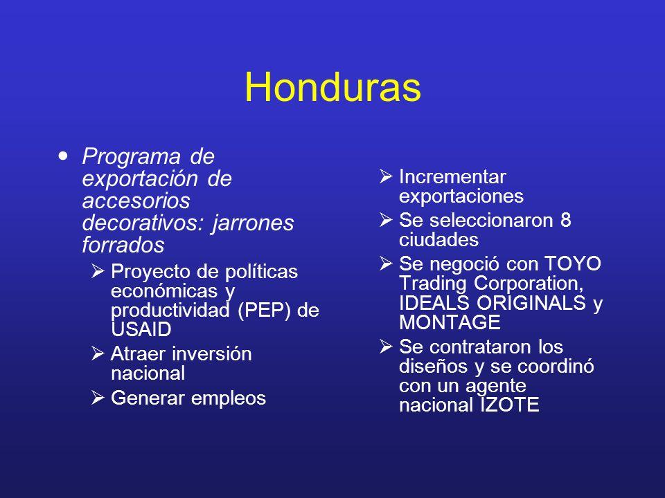 Honduras Programa de exportación de accesorios decorativos: jarrones forrados Proyecto de políticas económicas y productividad (PEP) de USAID Atraer i