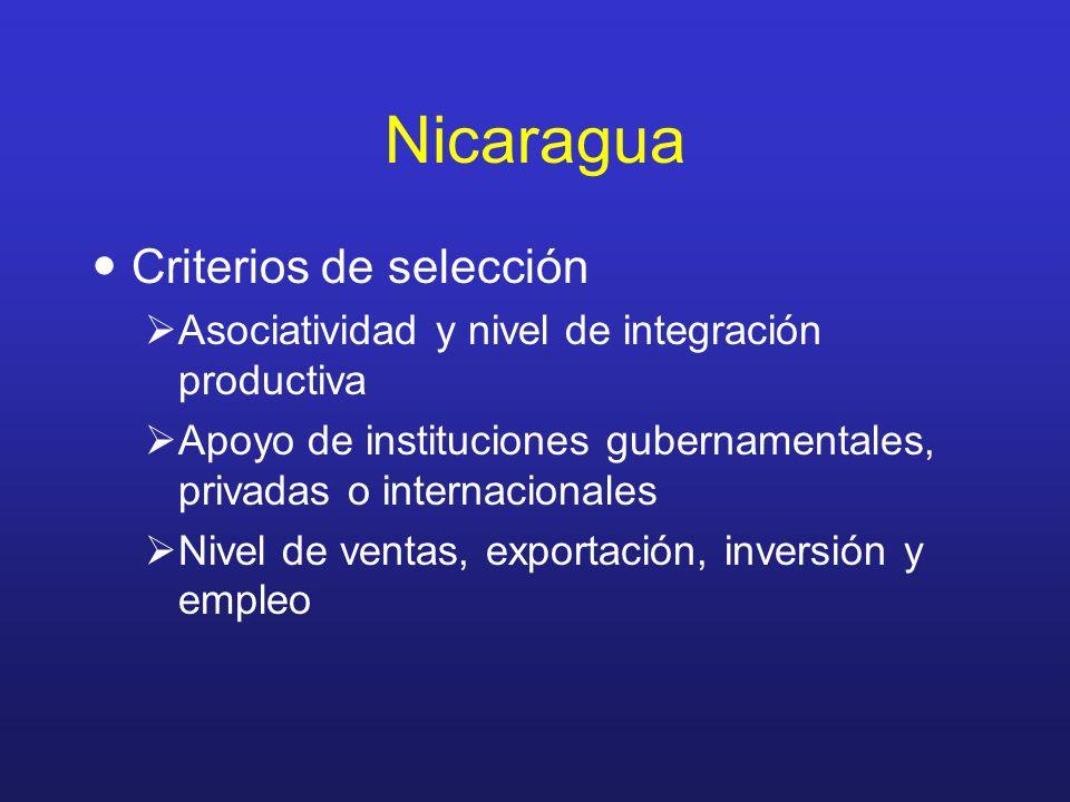 Nicaragua Criterios de selección Asociatividad y nivel de integración productiva Apoyo de instituciones gubernamentales, privadas o internacionales Ni