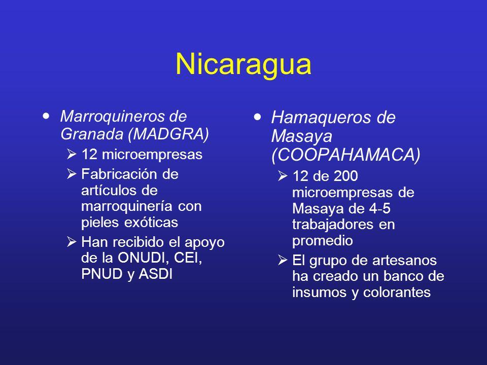 Nicaragua Marroquineros de Granada (MADGRA) 12 microempresas Fabricación de artículos de marroquinería con pieles exóticas Han recibido el apoyo de la