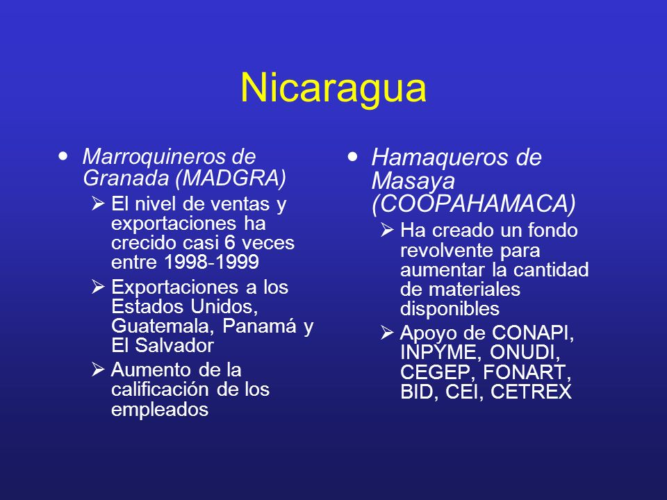 Nicaragua Marroquineros de Granada (MADGRA) El nivel de ventas y exportaciones ha crecido casi 6 veces entre 1998-1999 Exportaciones a los Estados Uni
