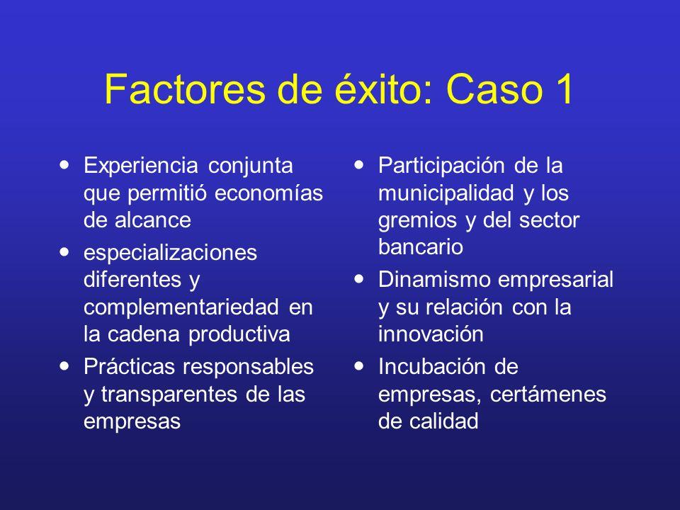 Factores de éxito: Caso 1 Experiencia conjunta que permitió economías de alcance especializaciones diferentes y complementariedad en la cadena product