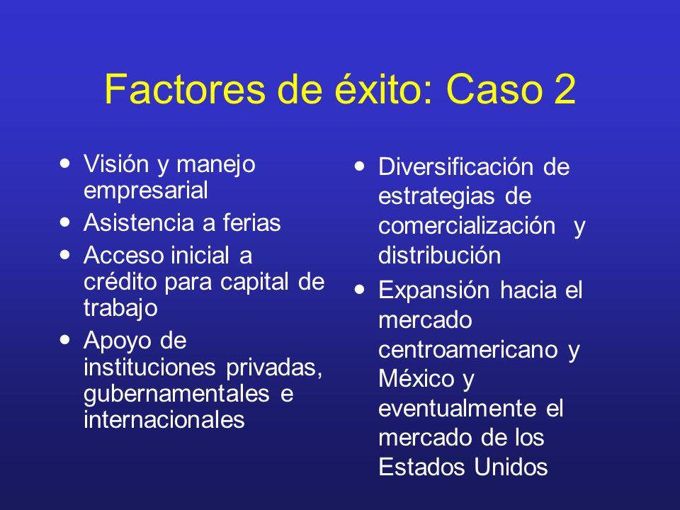Factores de éxito: Caso 2 Visión y manejo empresarial Asistencia a ferias Acceso inicial a crédito para capital de trabajo Apoyo de instituciones priv
