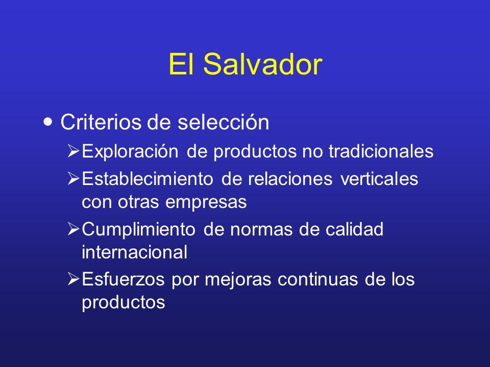 El Salvador Criterios de selección Exploración de productos no tradicionales Establecimiento de relaciones verticales con otras empresas Cumplimiento