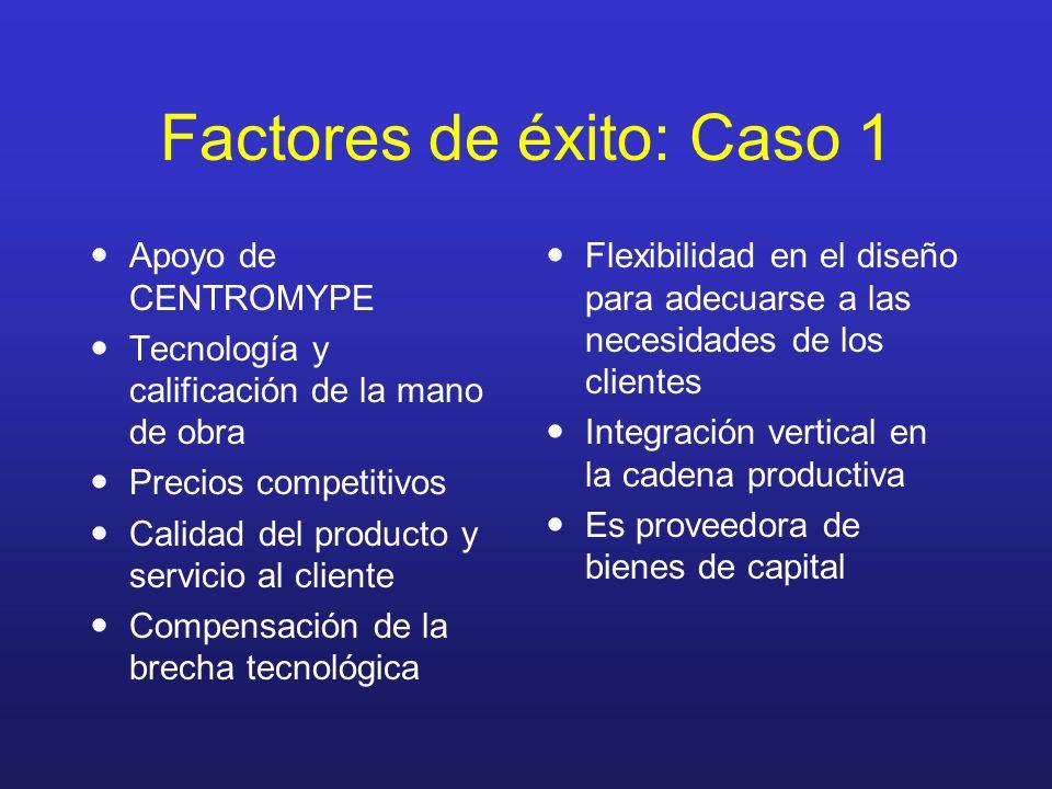 Factores de éxito: Caso 1 Apoyo de CENTROMYPE Tecnología y calificación de la mano de obra Precios competitivos Calidad del producto y servicio al cli