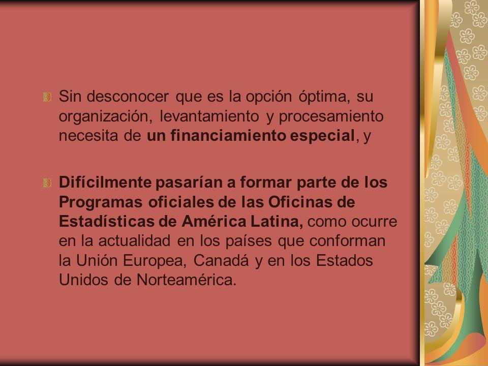 Sin desconocer que es la opción óptima, su organización, levantamiento y procesamiento necesita de un financiamiento especial, y Difícilmente pasarían a formar parte de los Programas oficiales de las Oficinas de Estadísticas de América Latina, como ocurre en la actualidad en los países que conforman la Unión Europea, Canadá y en los Estados Unidos de Norteamérica.