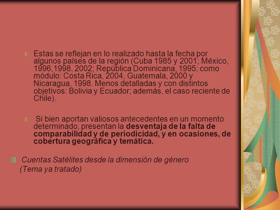 Estas se reflejan en lo realizado hasta la fecha por algunos países de la región (Cuba 1985 y 2001; México, 1996,1998, 2002; República Dominicana, 199