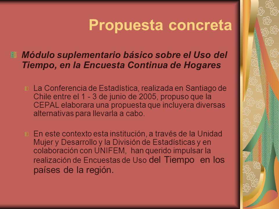 Propuesta concreta Módulo suplementario básico sobre el Uso del Tiempo, en la Encuesta Continua de Hogares La Conferencia de Estadística, realizada en Santiago de Chile entre el 1 - 3 de junio de 2005, propuso que la CEPAL elaborara una propuesta que incluyera diversas alternativas para llevarla a cabo.