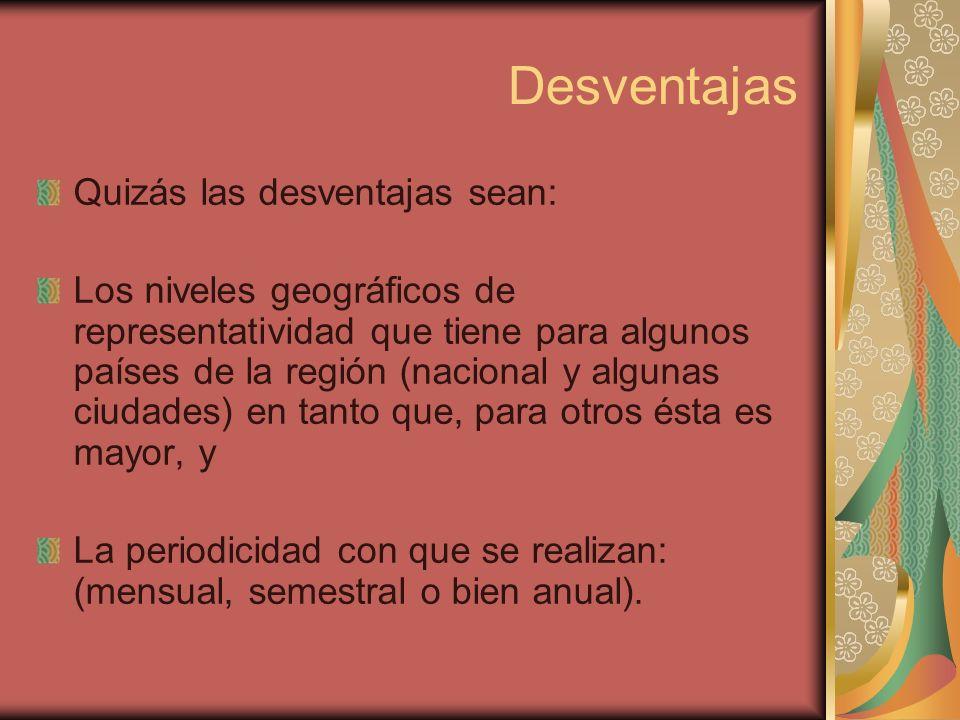Desventajas Quizás las desventajas sean: Los niveles geográficos de representatividad que tiene para algunos países de la región (nacional y algunas c