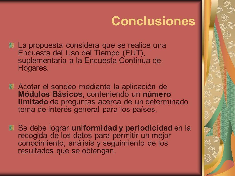 Conclusiones La propuesta considera que se realice una Encuesta del Uso del Tiempo (EUT), suplementaria a la Encuesta Continua de Hogares. Acotar el s