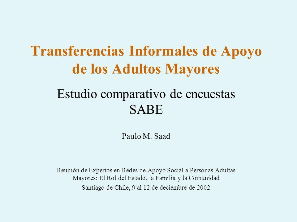 Transferencias Informales de Apoyo de los Adultos Mayores Estudio comparativo de encuestas SABE Paulo M. Saad Reunión de Expertos en Redes de Apoyo So