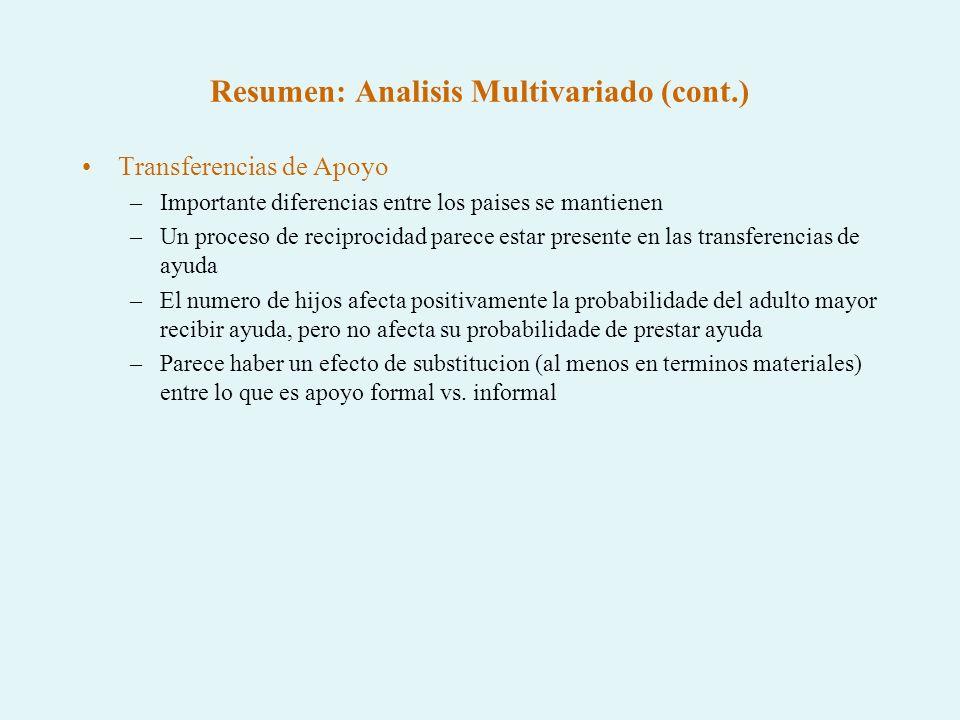 Resumen: Analisis Multivariado (cont.) Transferencias de Apoyo –Importante diferencias entre los paises se mantienen –Un proceso de reciprocidad parec