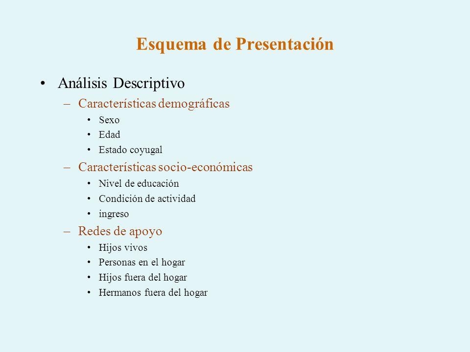 Esquema de Presentación Análisis Descriptivo –Características demográficas Sexo Edad Estado coyugal –Características socio-económicas Nivel de educaci