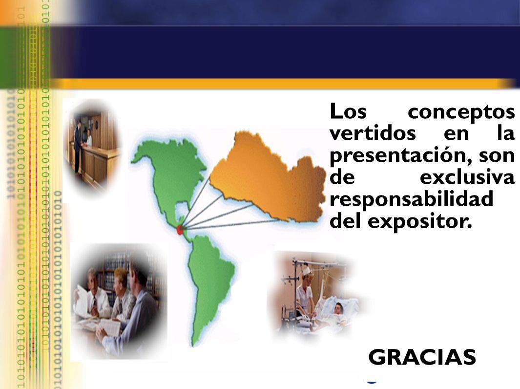 Los conceptos vertidos en la presentación, son de exclusiva responsabilidad del expositor. GRACIAS