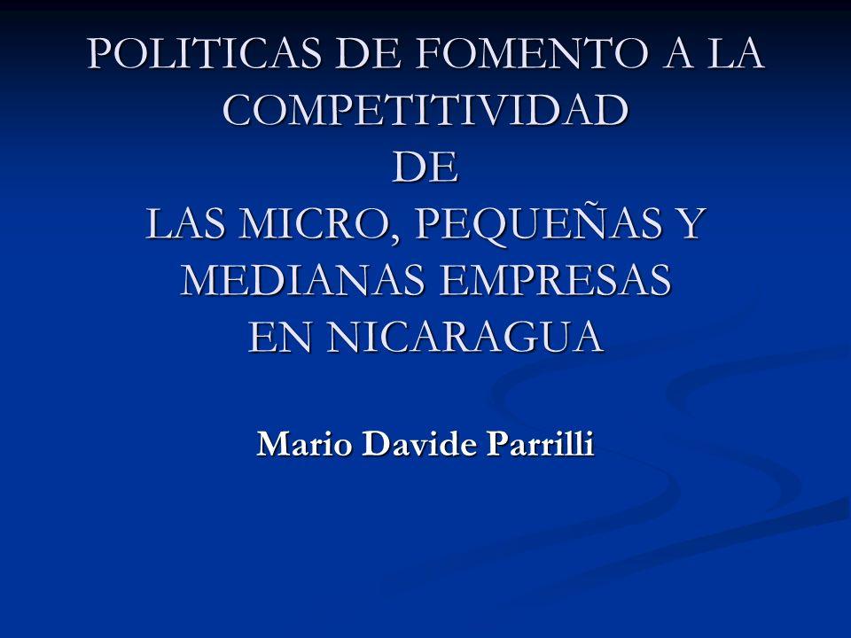 POLITICAS DE FOMENTO A LA COMPETITIVIDAD DE LAS MICRO, PEQUEÑAS Y MEDIANAS EMPRESAS EN NICARAGUA Mario Davide Parrilli