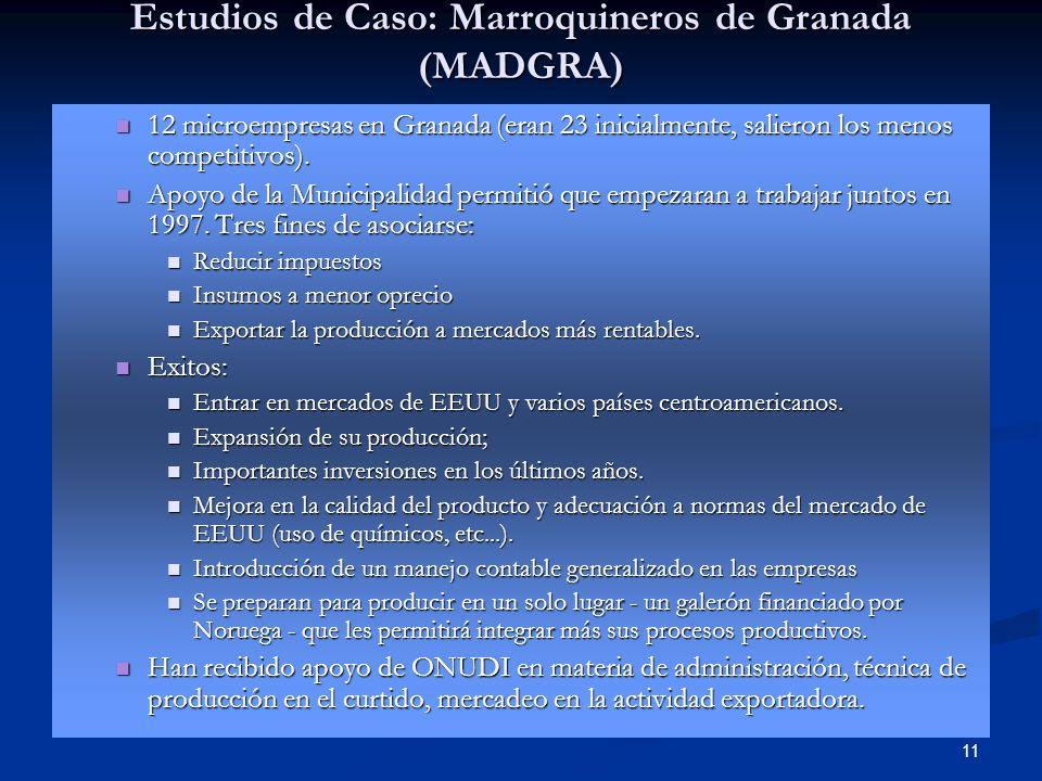 11 Estudios de Caso: Marroquineros de Granada (MADGRA) 12 microempresas en Granada (eran 23 inicialmente, salieron los menos competitivos). 12 microem