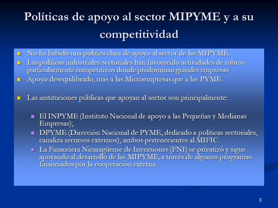 3 Políticas de apoyo al sector MIPYME y a su competitividad No ha habido una política clara de apoyo al sector de las MIPYME. No ha habido una polític