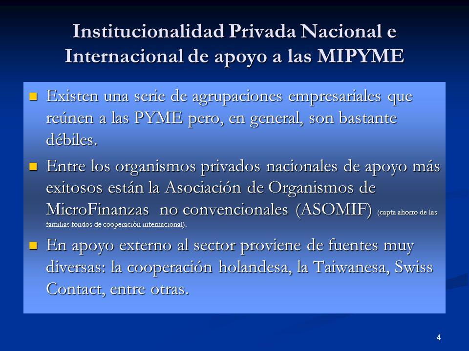 4 Institucionalidad Privada Nacional e Internacional de apoyo a las MIPYME Existen una serie de agrupaciones empresariales que reúnen a las PYME pero,