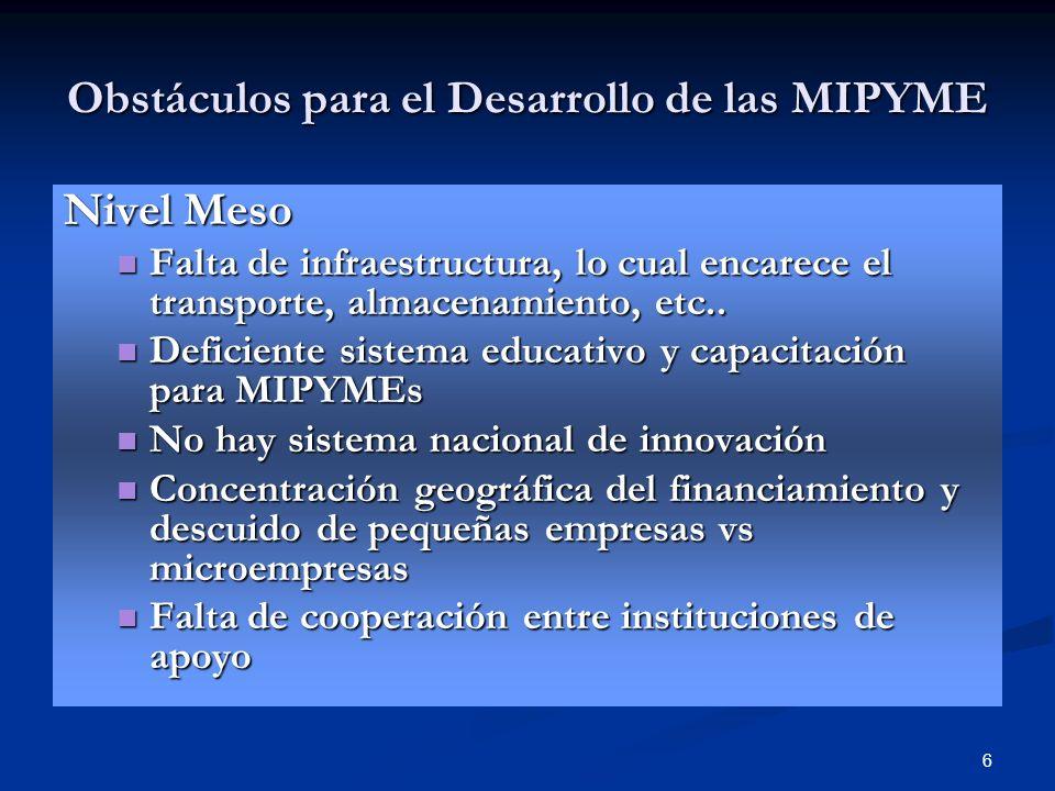 6 Obstáculos para el Desarrollo de las MIPYME Nivel Meso Falta de infraestructura, lo cual encarece el transporte, almacenamiento, etc.. Falta de infr