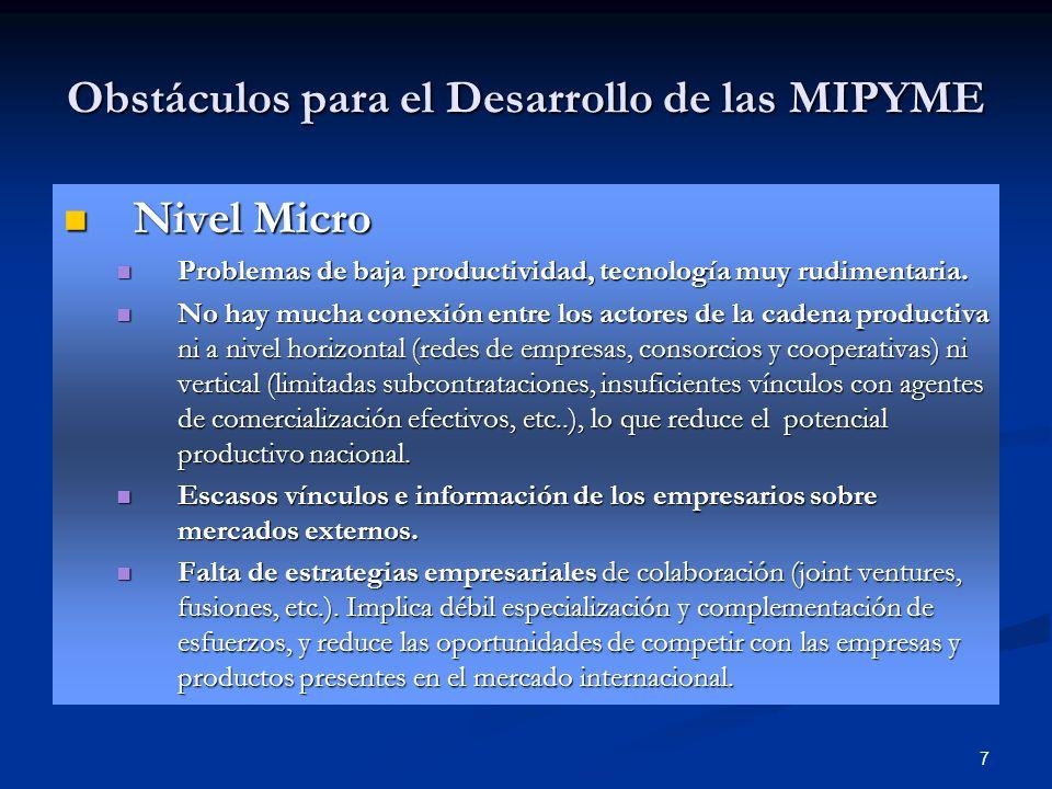 7 Obstáculos para el Desarrollo de las MIPYME Nivel Micro Nivel Micro Problemas de baja productividad, tecnología muy rudimentaria. Problemas de baja