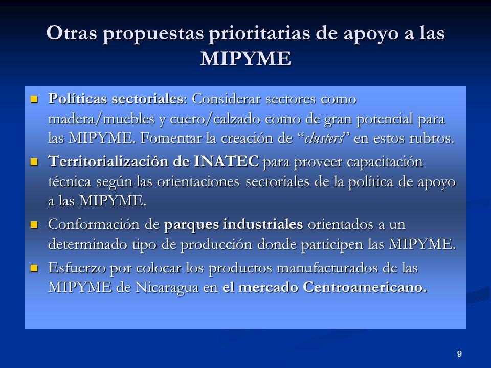 9 Otras propuestas prioritarias de apoyo a las MIPYME Políticas sectoriales: Considerar sectores como madera/muebles y cuero/calzado como de gran pote
